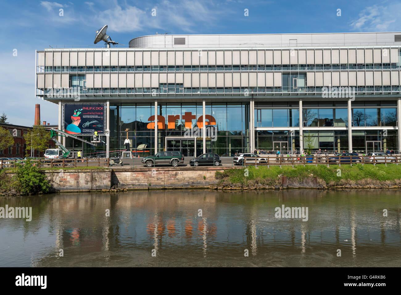 Costruzione di franco-tedesco canale televisivo Arte, Strasburgo, Alsazia, Francia Immagini Stock