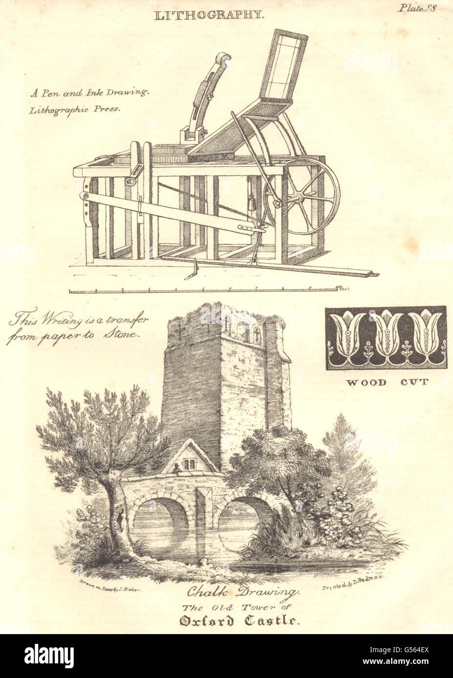 OXFORD: litografia; stampa litografica; la vecchia torre del Castello di Oxford, 1830 Immagini Stock
