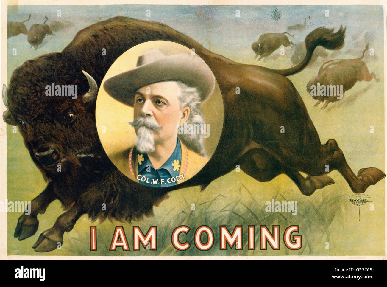 La litografia corriere azienda - Buffalo Bill Cody Immagini Stock