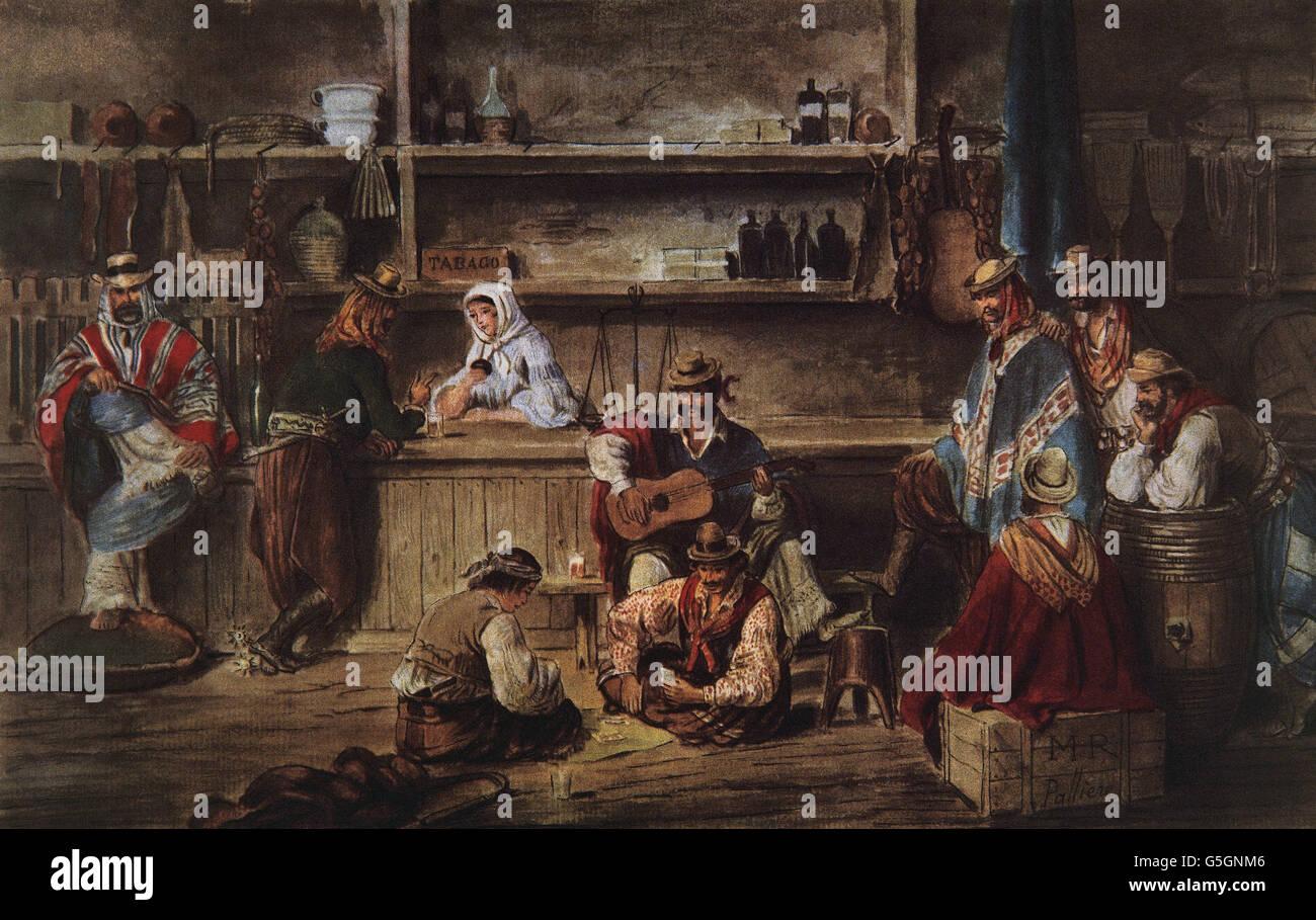 Argentina. Xix secolo. Pulperia. Interno. Acquerello di Palliere, 1858. Museo Storico Nazionale. Buenos Aires. Argentina. Immagini Stock
