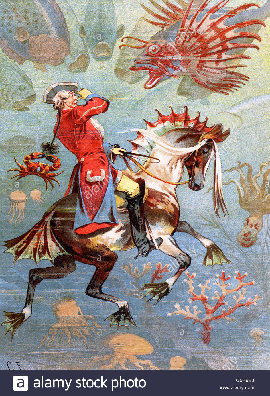 Muenchhausen, Karl Friedrich Hieronymus von, 11.5.1720 - 22.2.1797, funzionario tedesco, le avventure, equitazione Foto Stock
