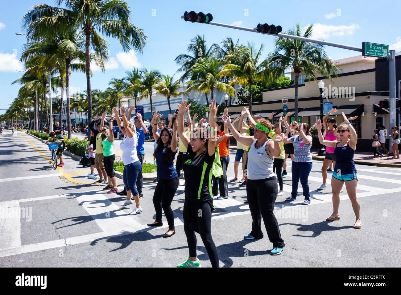 Florida Miami Beach Washington Avenue Bike mese evento Ciclovia strada chiusa biciclette traffico solo esercizio Immagini Stock