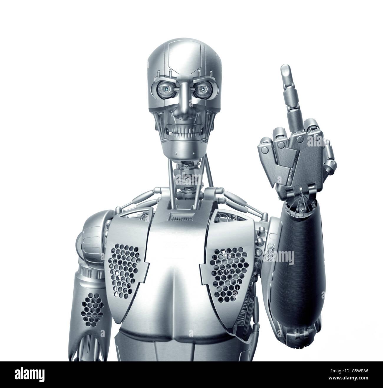Robot umanoide dando il dito con percorso di clipping, 3d illustrazione Immagini Stock