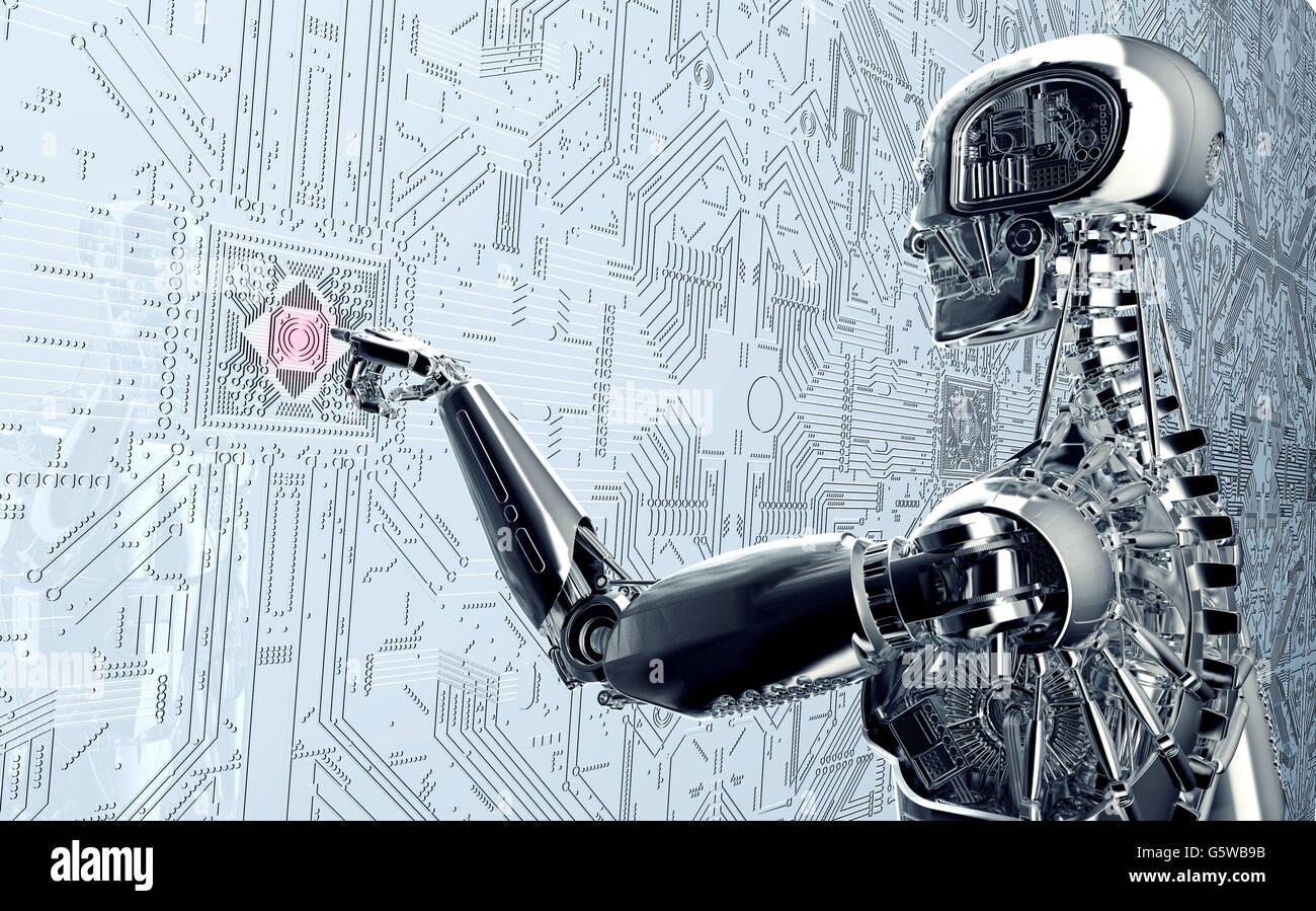 Robot umanoide facendo clic su computer di rete , 3d illustrazione Immagini Stock