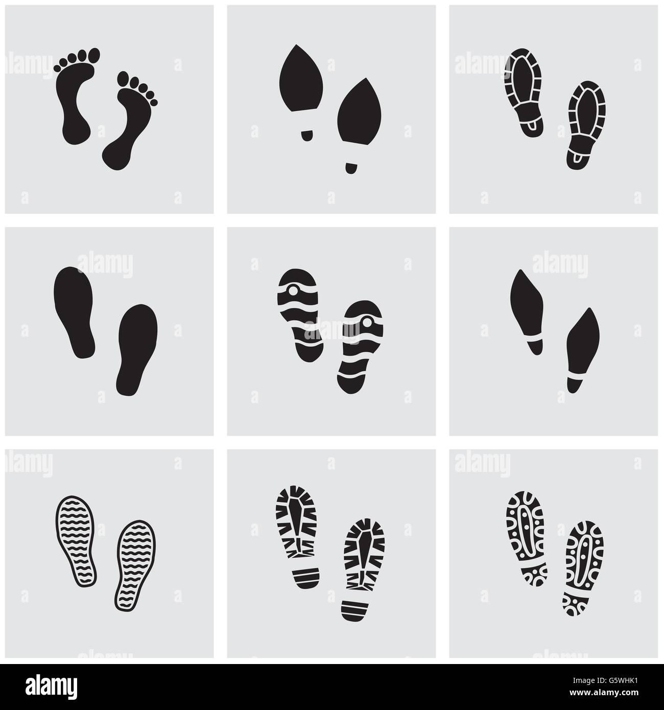 online store c9d44 03e30 Vector nero scarpe impronte icona impostare Illustrazione ...