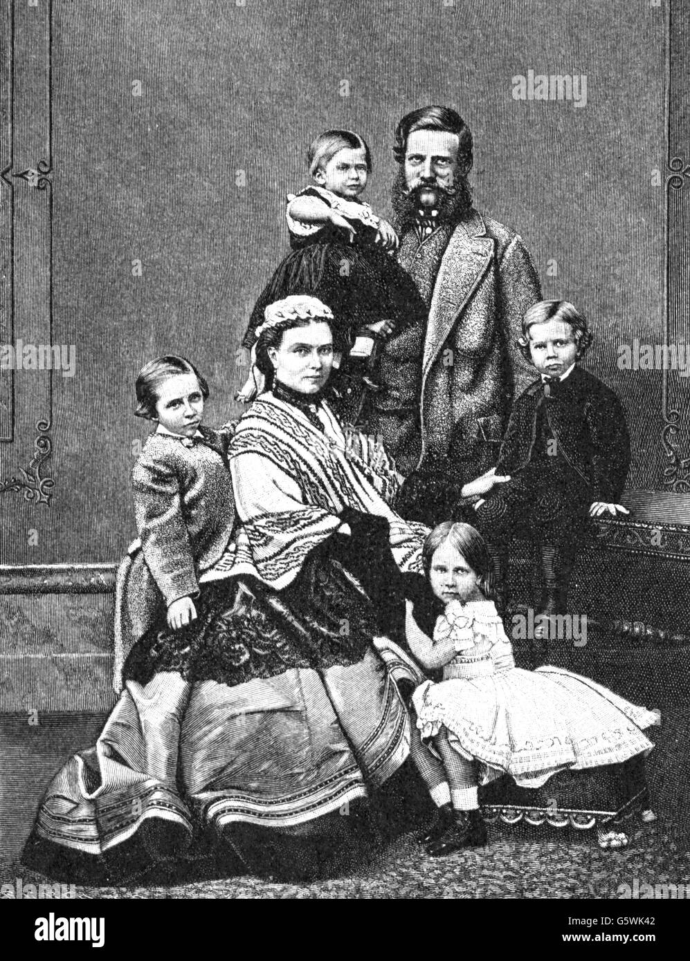 Federico Iii, 18.10.1831 - 15.6.1888, Imperatore Tedesco 9.3. - 15.6.1888, con moglie Victoria Adelaide, figli Principe Foto Stock