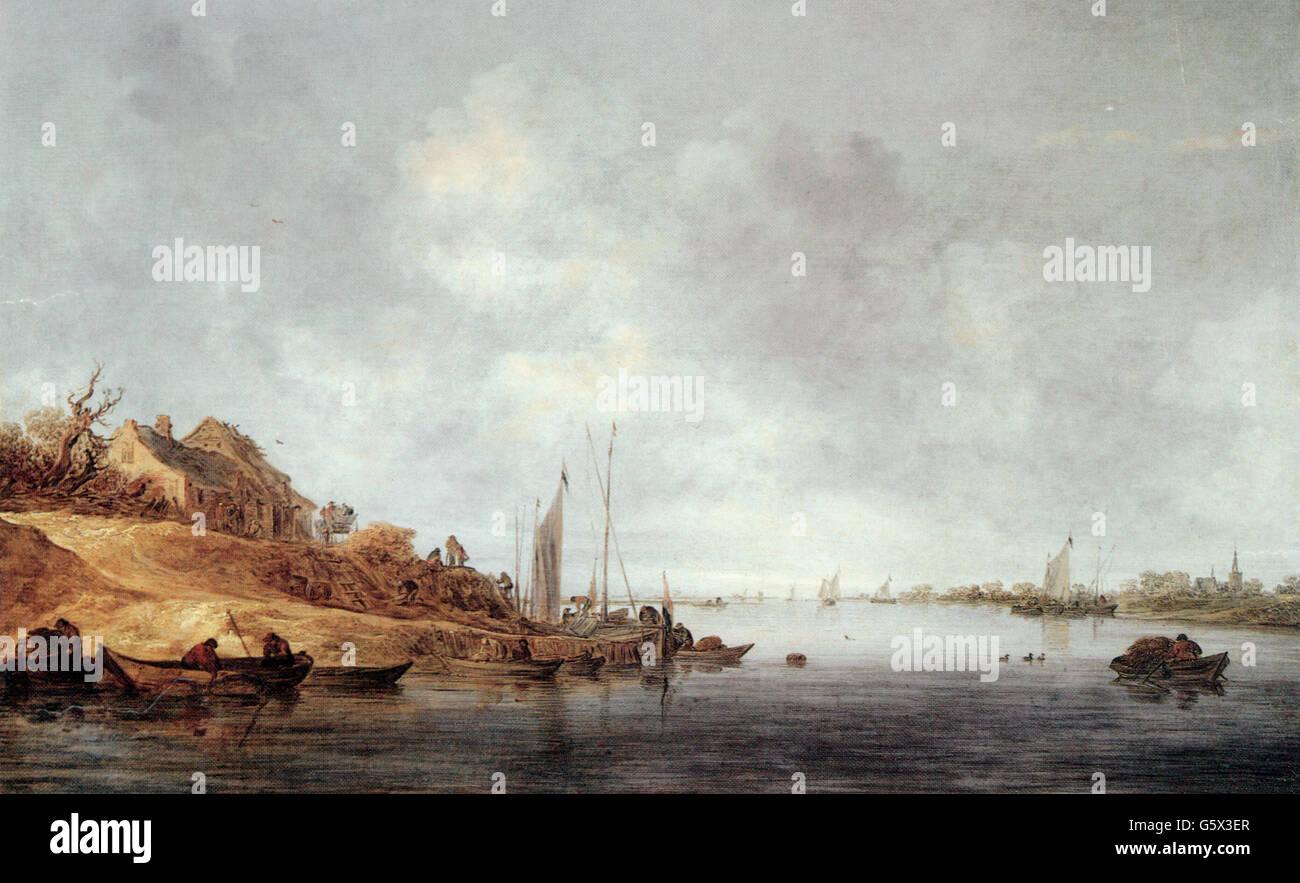 """Belle arti, Goyen, Jan van (1596 - 1656), pittura, 'fiume paesaggio con barche"""", 1640, olio su pannello, Immagini Stock"""