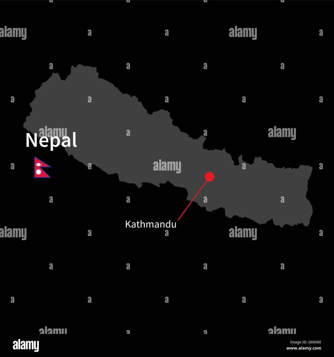Cartina Dettagliata Del Nepal.Mappa Dettagliata Del Nepal E La Citta Capitale Kathmandu Con