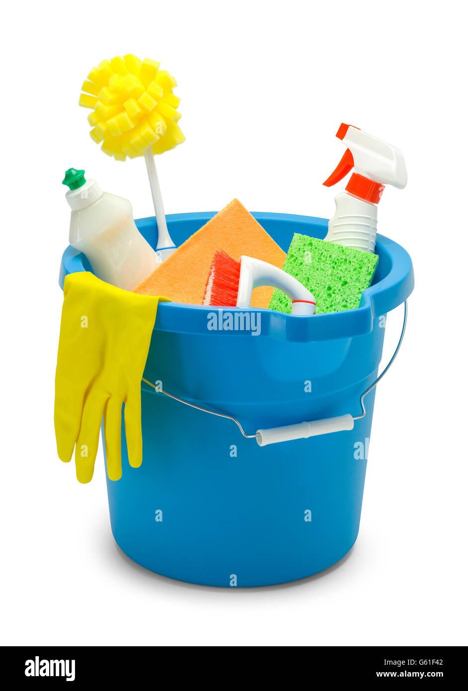 Benna blu con materiali per la pulizia isolati su sfondo bianco. Immagini Stock