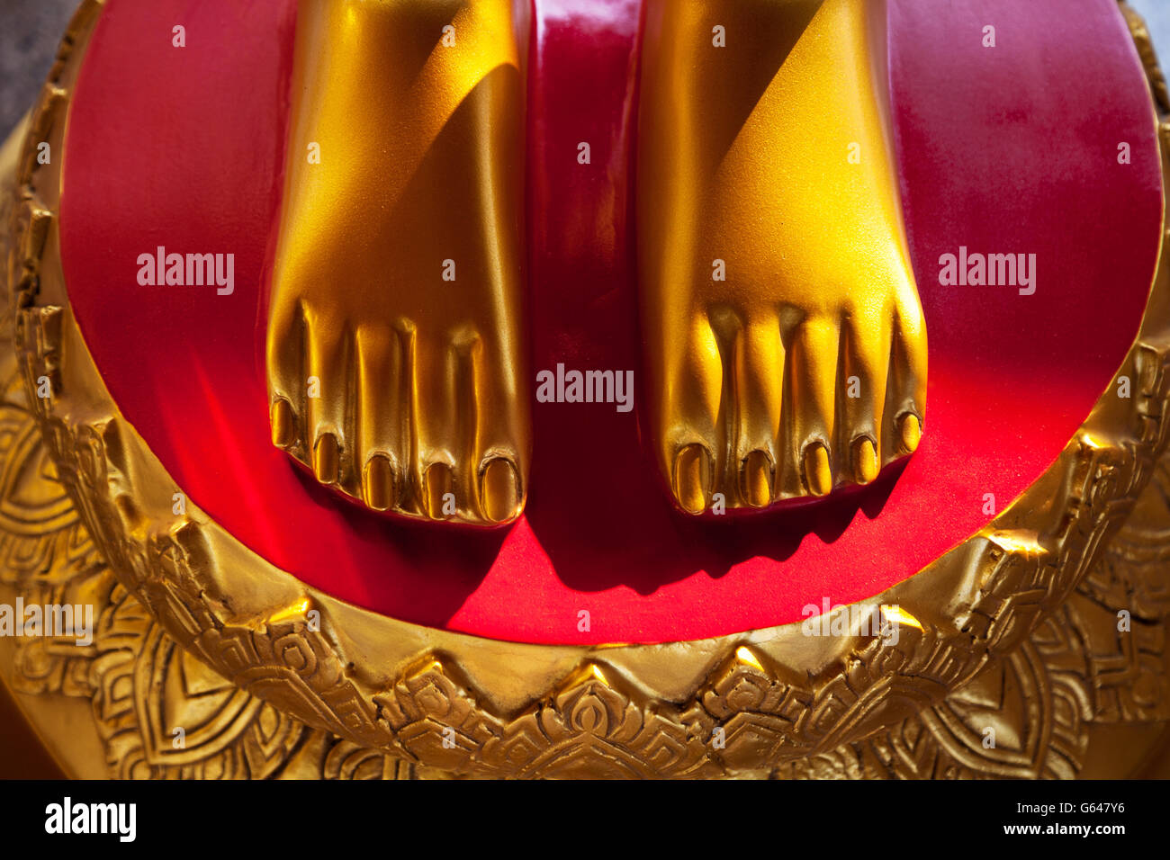 Golden Piedi Su Uno Sfondo Di Colore Rosso Vivo Di Close Up Asian