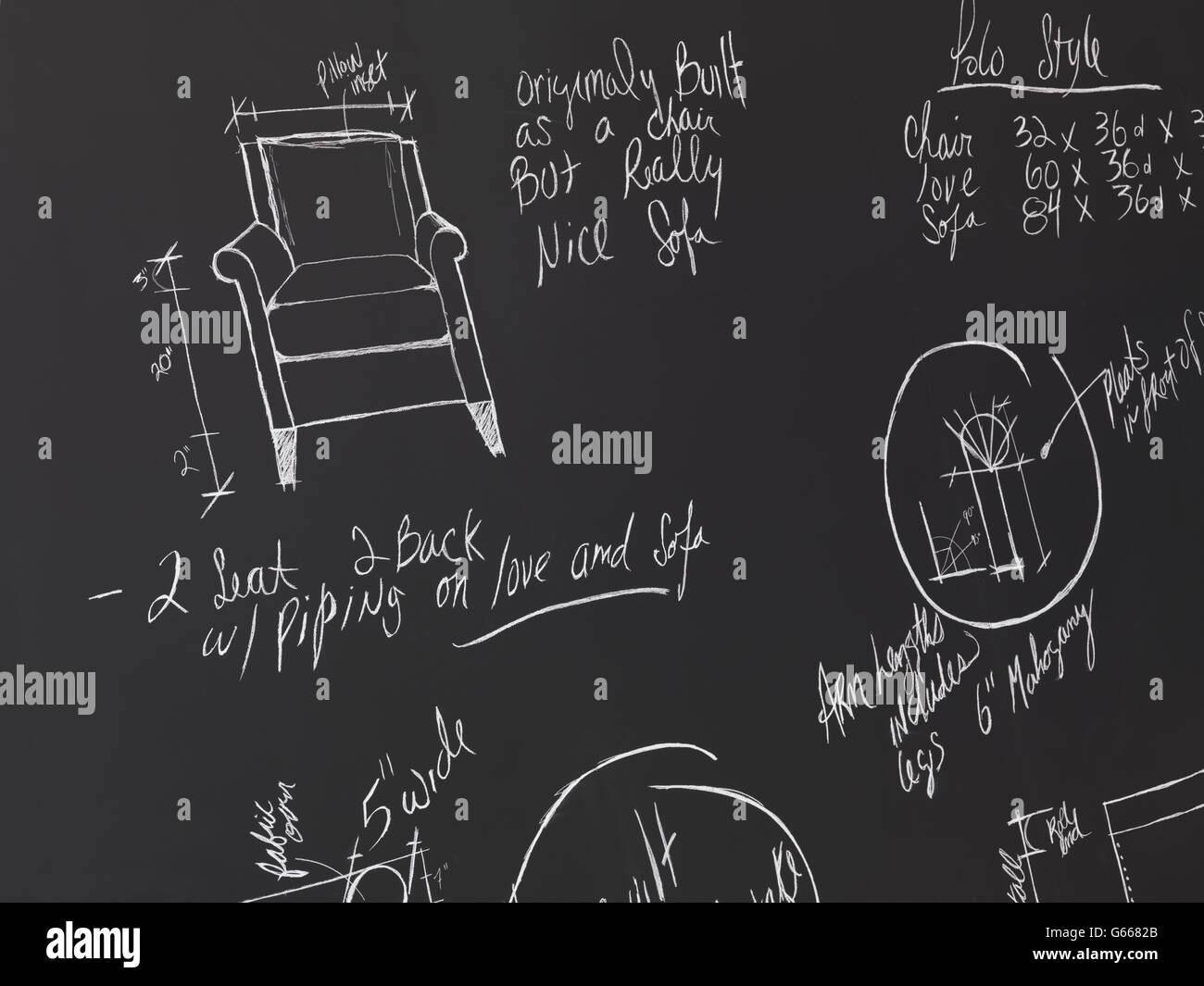 Arredi di design schizzi su una lavagna, disegni di progettazione interna Immagini Stock