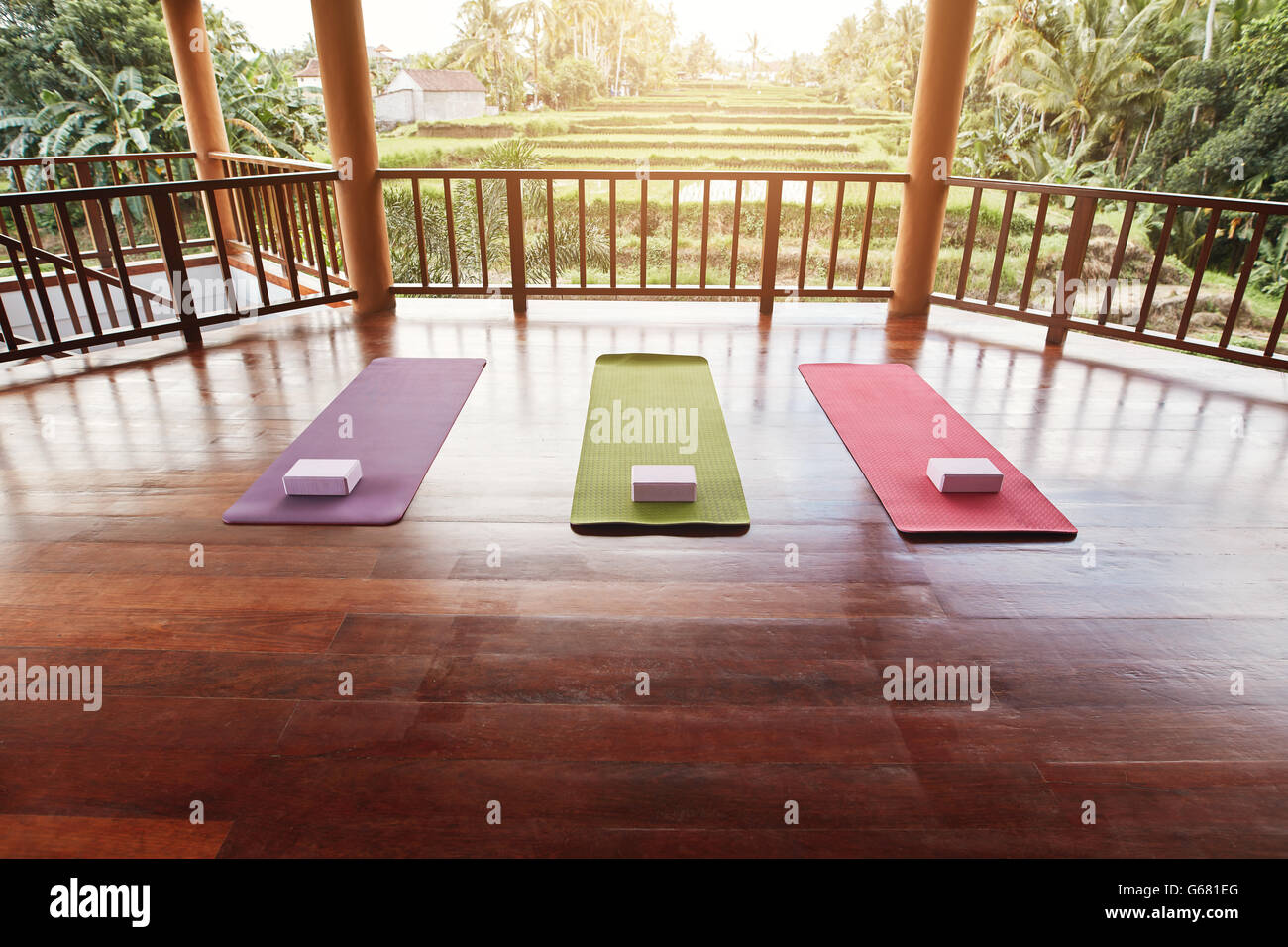 Vuoto studio di yoga con tappeto coloratissimo e yoga mattone. Immagini Stock