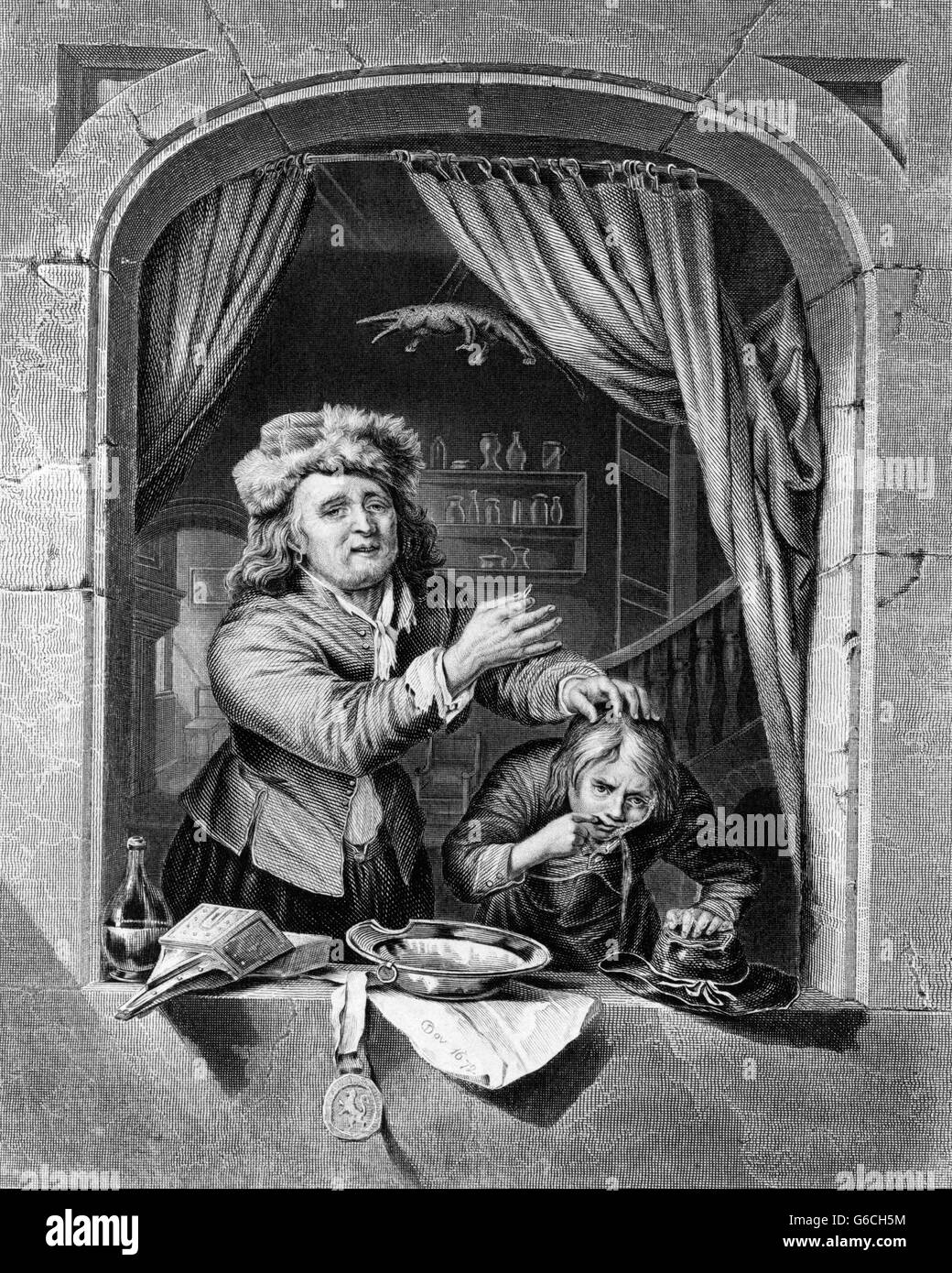 1600s del XVII secolo dentista e disegno del paziente dopo la verniciatura di GERARD DOW OLANDESE Pittore di genere Immagini Stock