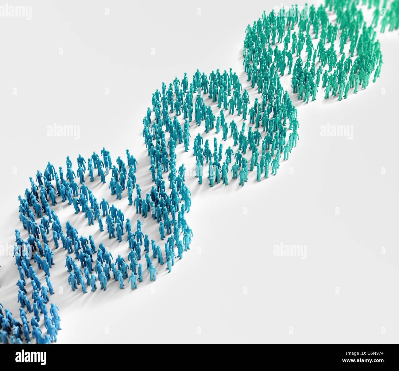 Piccolo popolo formando un elica di DNA - simbolo della ricerca genetica e popolazione ampi tratti genetici concetto Immagini Stock