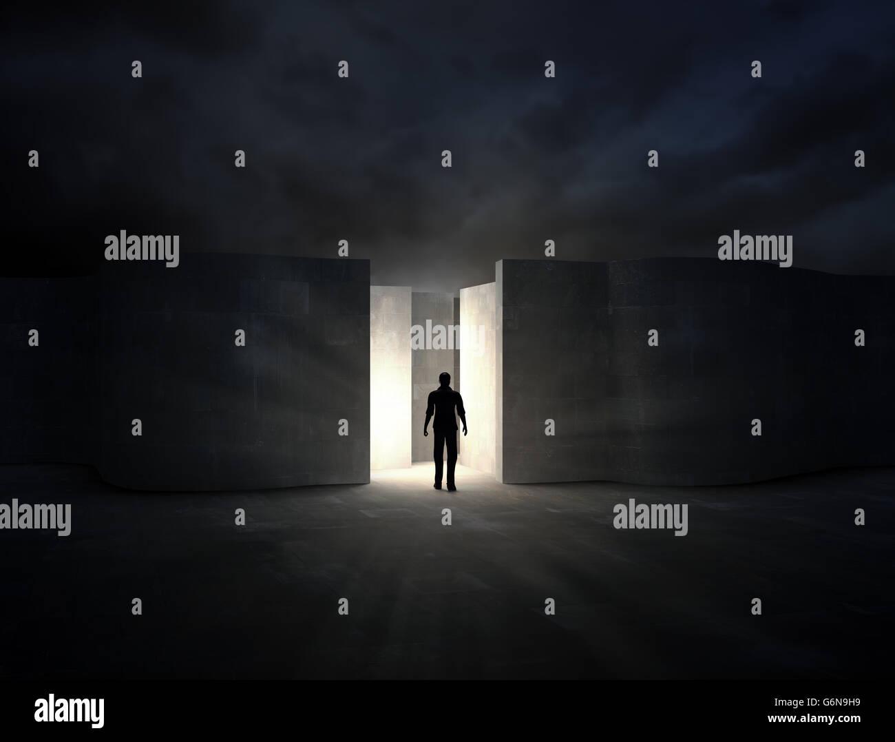 L'uomo entrando in un misterioso labirinto - 3D rendering Immagini Stock