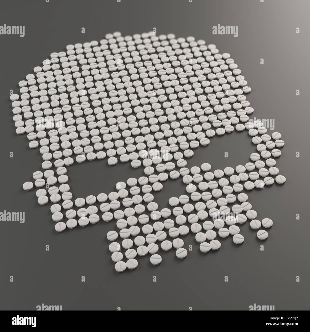 Pills formando un teschio simbolo - abuso di droga concetto 3D illustrazione Foto Stock