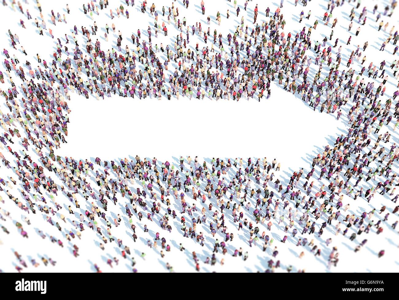 Un folto gruppo di persone formando un simbolo a freccia - 3D illustrazione Immagini Stock