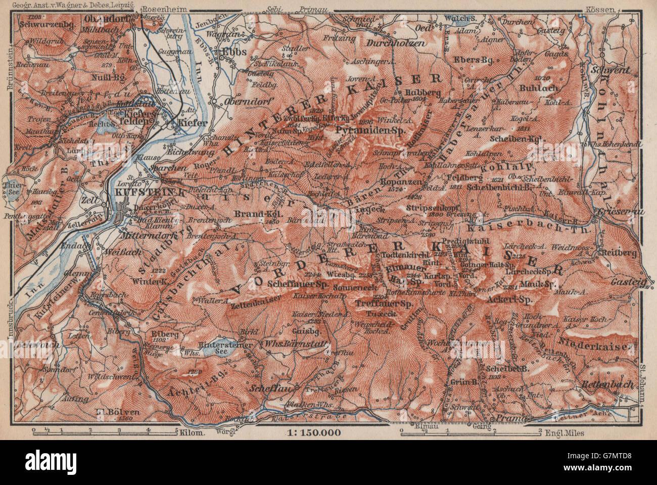 Chiemgau & Environs Kufstein Traunstein Lofer Kössen Karte 1914 Map Chiemsee