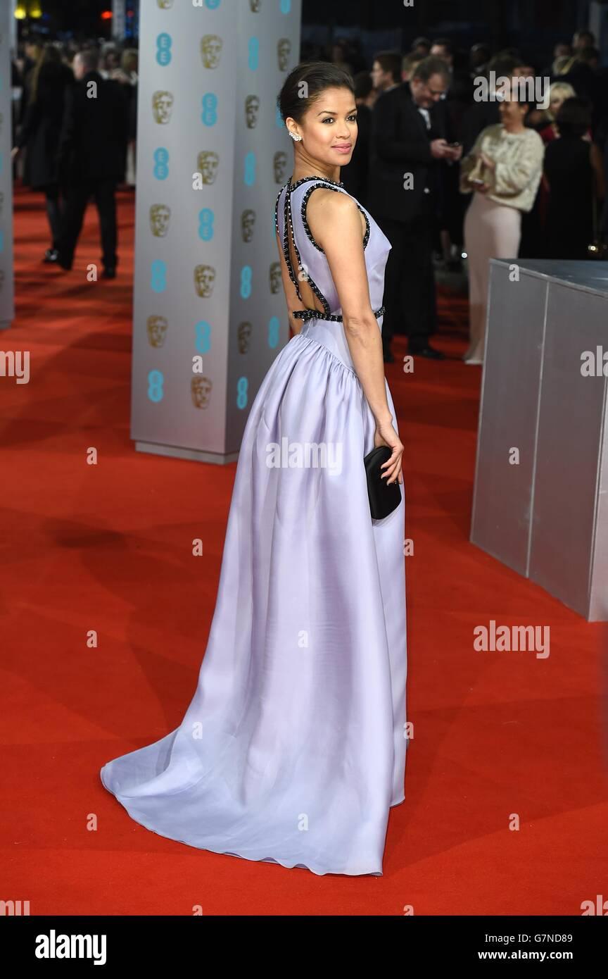 Gugu Matha-Raw arriva all'EE British Academy Film Awards 2015, presso la Royal Opera House, Bow Street, Londra. Foto Stock
