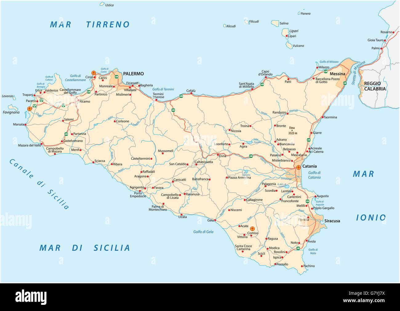 Cartina Della Sicilia Dettagliata.Vettore Dettagliata Cartina Stradale Di Islanda Sicilia Italia