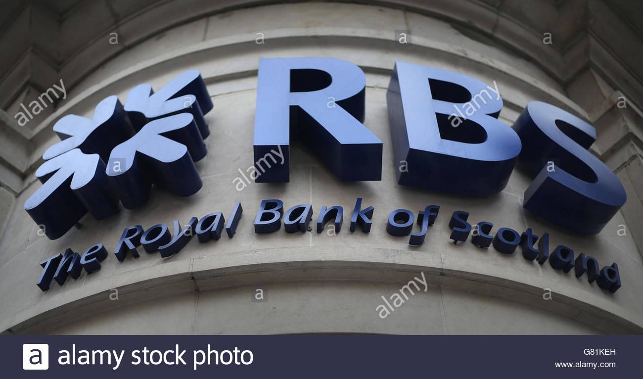 File foto datata 03/04/14 di una filiale della Royal Bank of Scotland di Piccadilly Circus, Londra, le cui azioni Immagini Stock