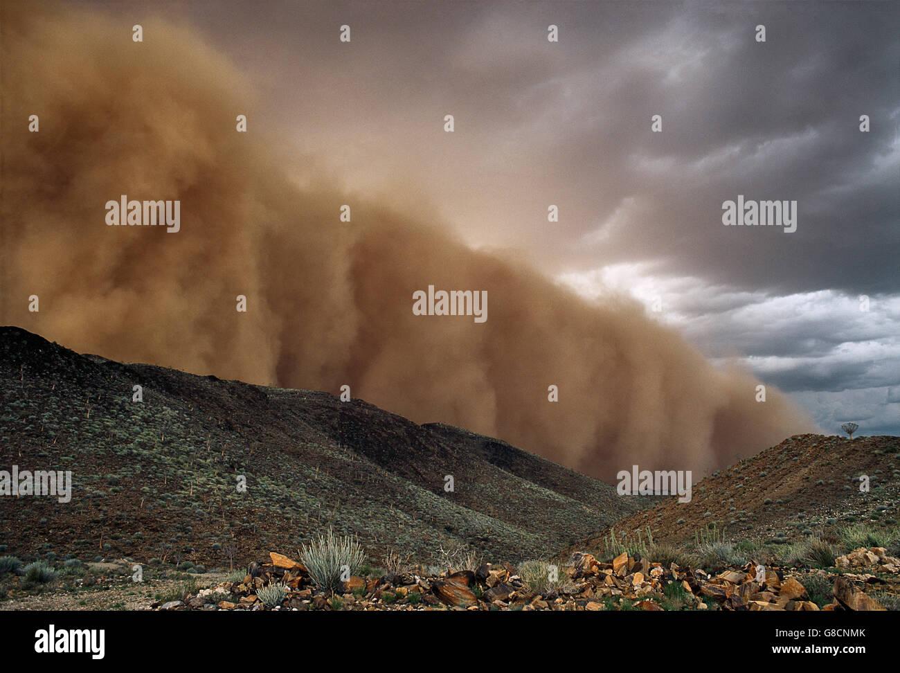 Tempesta di sabbia, Namib Desert, Namibia. Immagini Stock