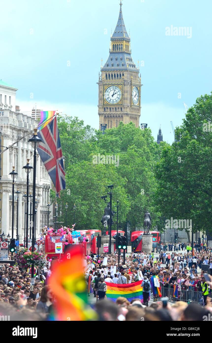 Gay Pride Parade 2016, Londra, Inghilterra, Regno Unito Immagini Stock