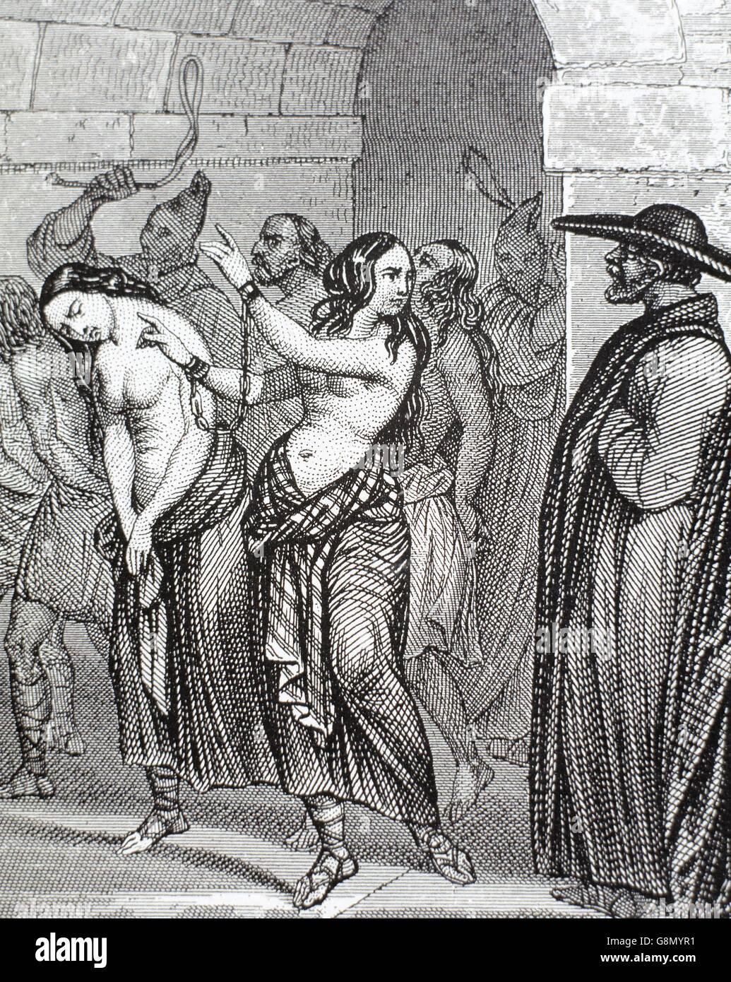 Medioevo. Le donne accusate di stregoneria che conduce al carcere. Incisione del XIX secolo. Immagini Stock