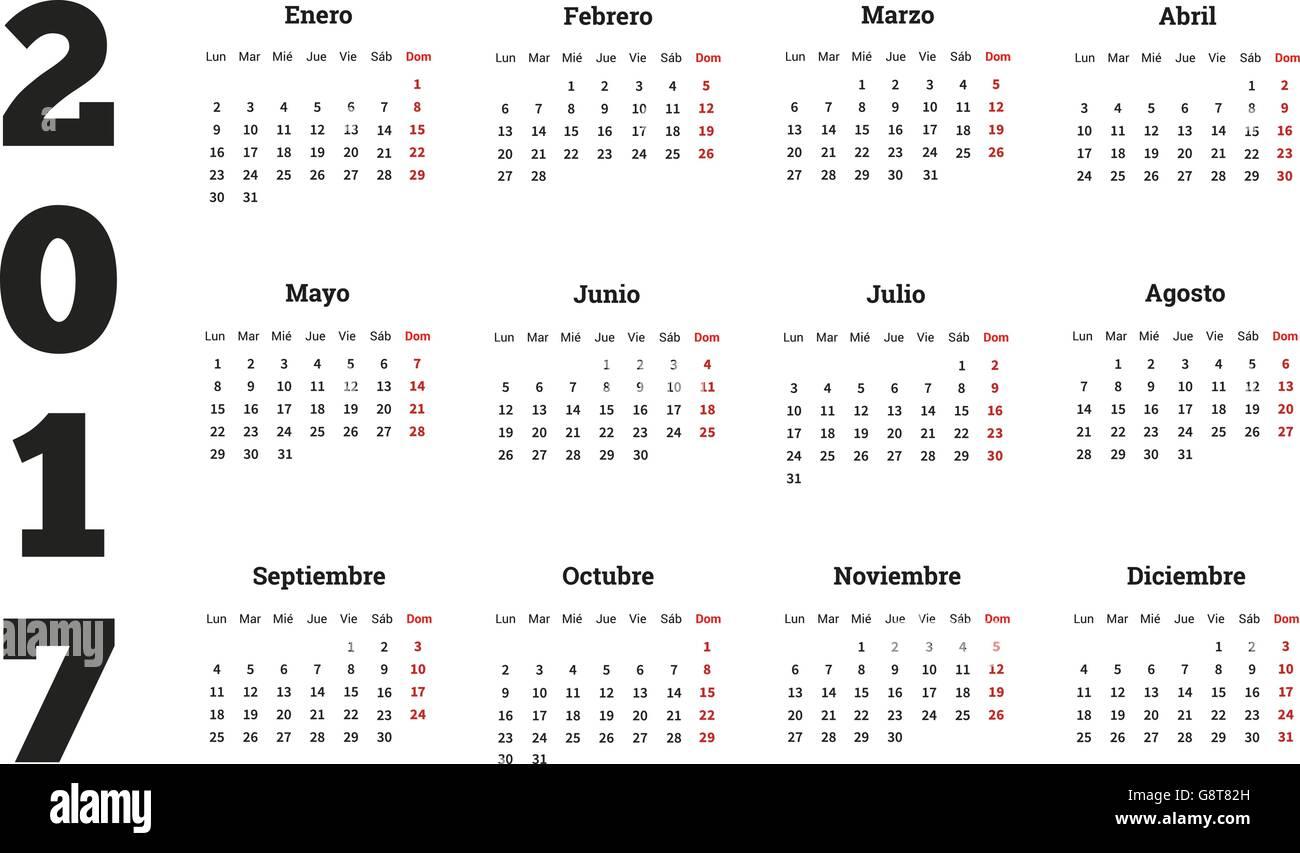 Calendario In Spagnolo.Semplice Calendario In Spagnolo Isolato Su Bianco