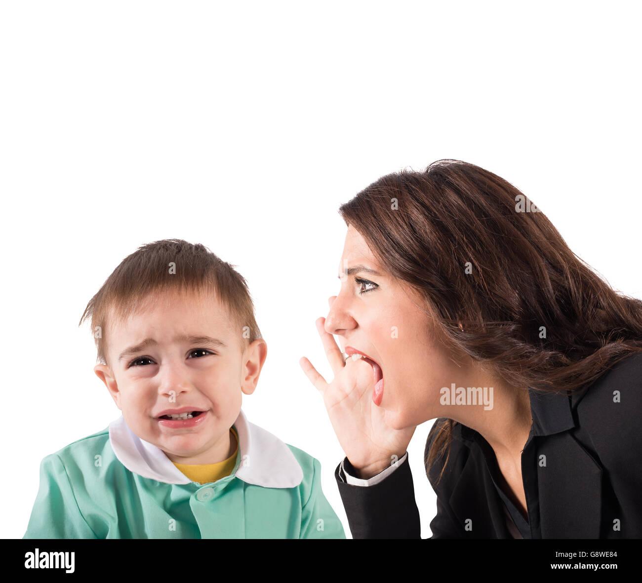 Rimproverare un bambino Immagini Stock