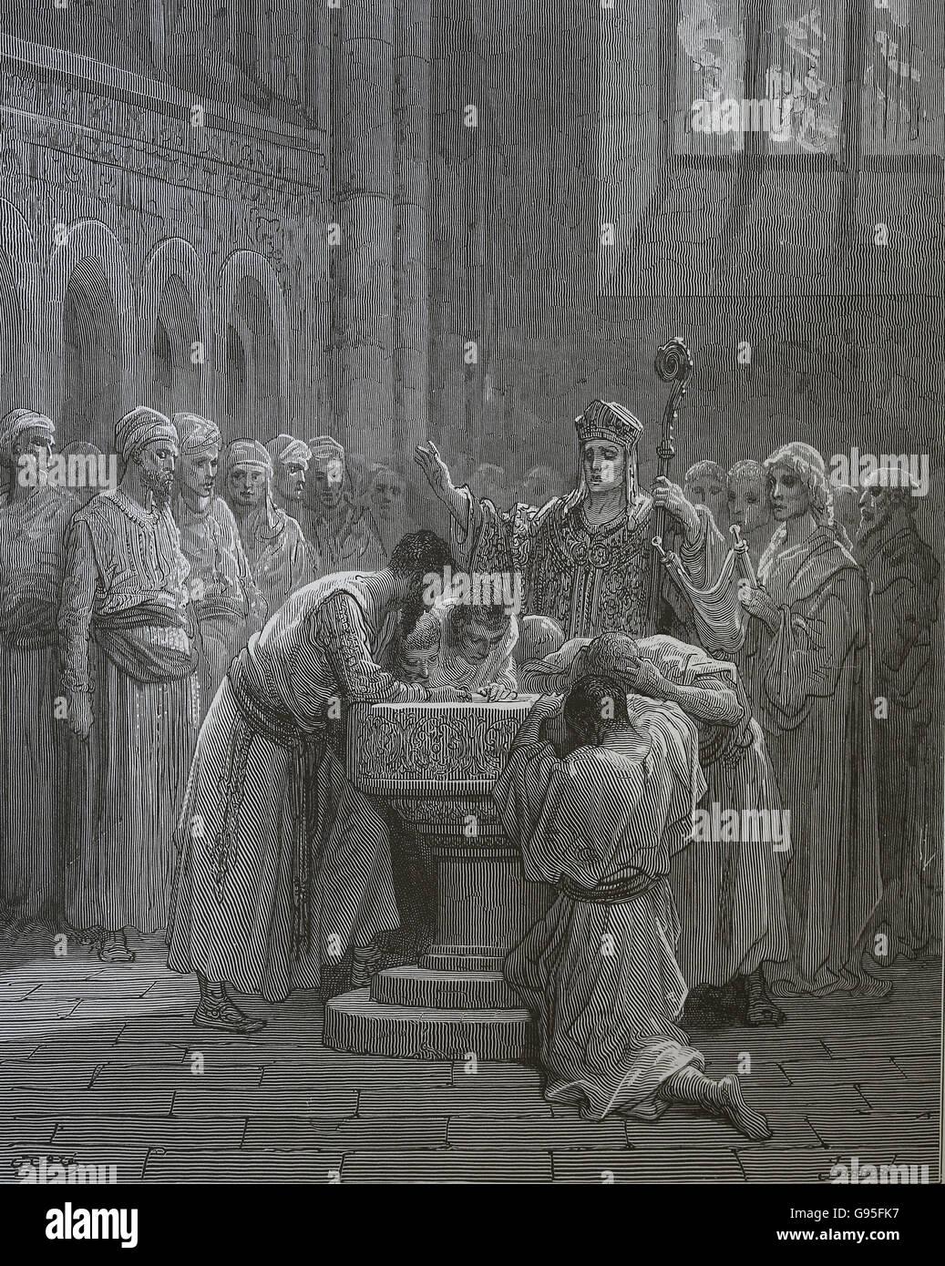 Le Crociate di Gustave Dore. Il battesimo degli infedeli. Cerimonia. Incisione, XIX c. Immagini Stock