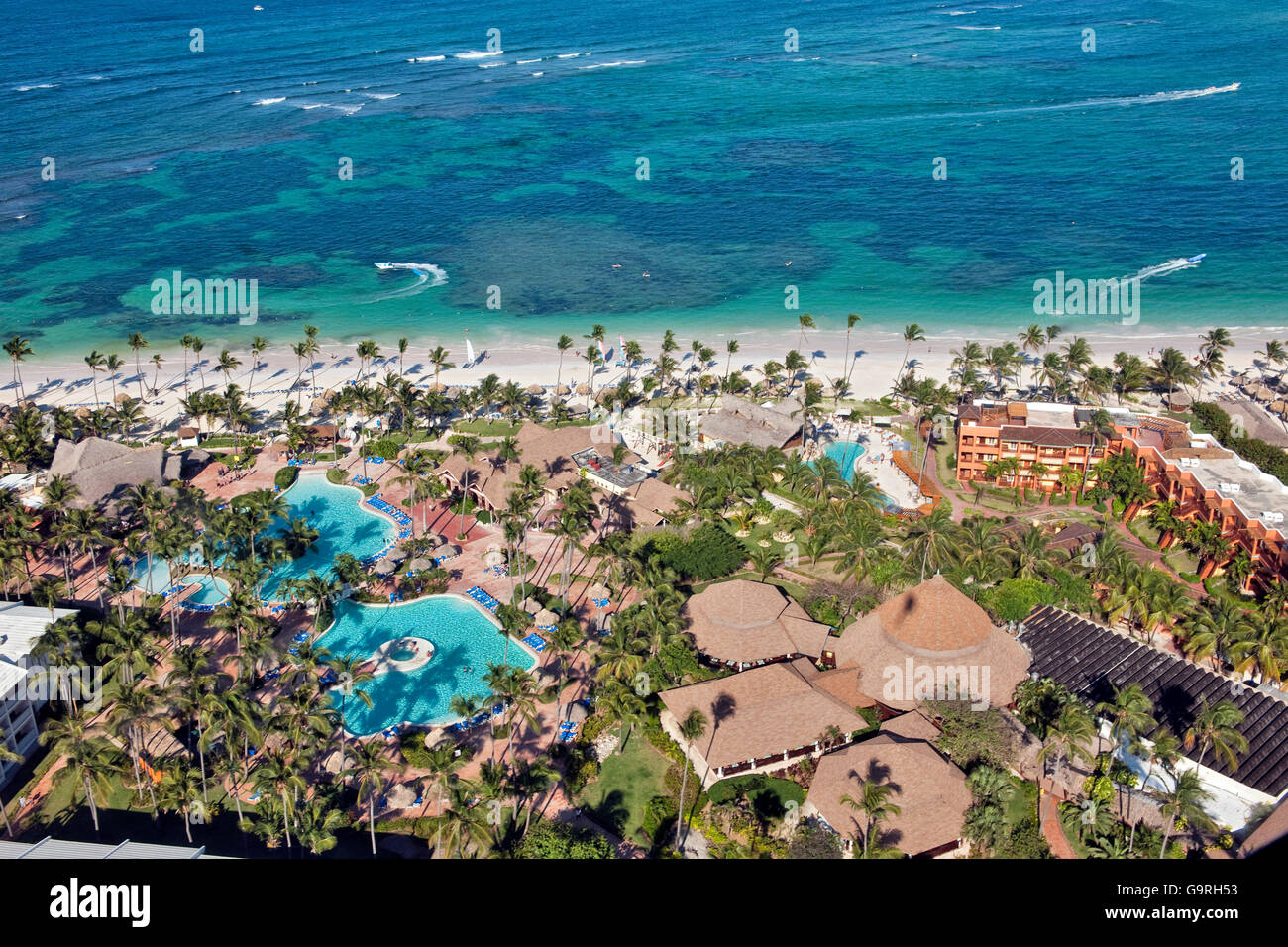 Beach Resort, reef, Bavaro e Punta Cana, La Altagracia Provincia, Repubblica Dominicana Immagini Stock
