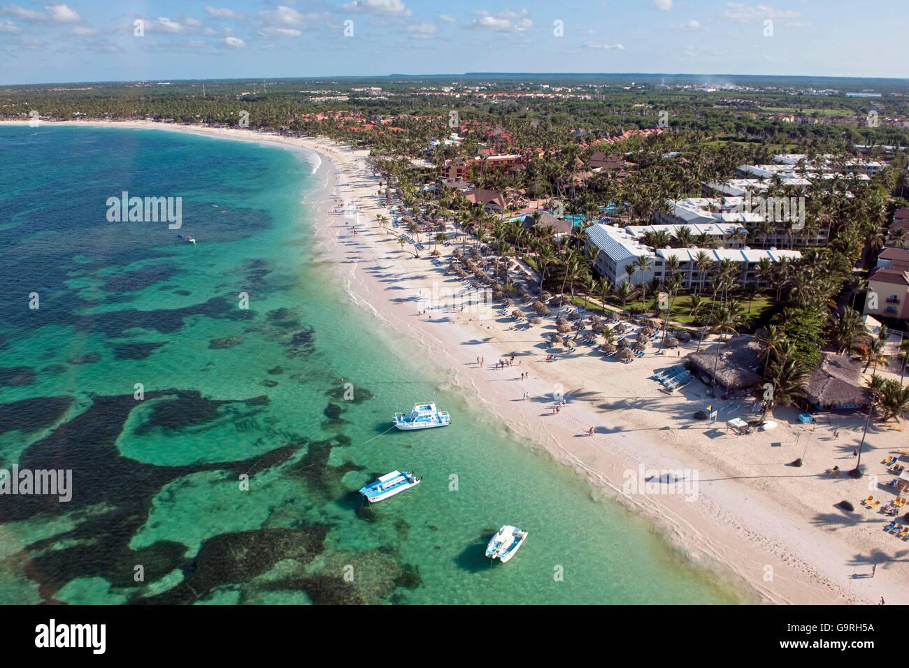 Spiaggia Beach Resort, reef, Bavaro e Punta Cana, La Altagracia Provincia, Repubblica Dominicana Immagini Stock