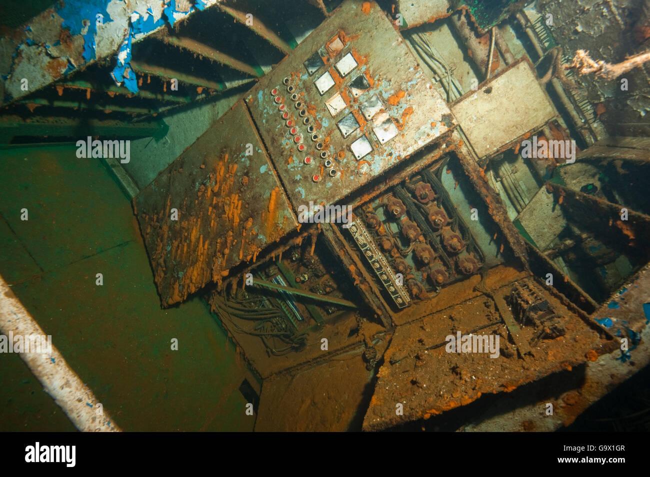 Relitto El Pejin, elettricità camera, underwaterphoto, Tabaiba, Tenerife, Isole Canaray, Spagna, Europa, Atlantic Immagini Stock