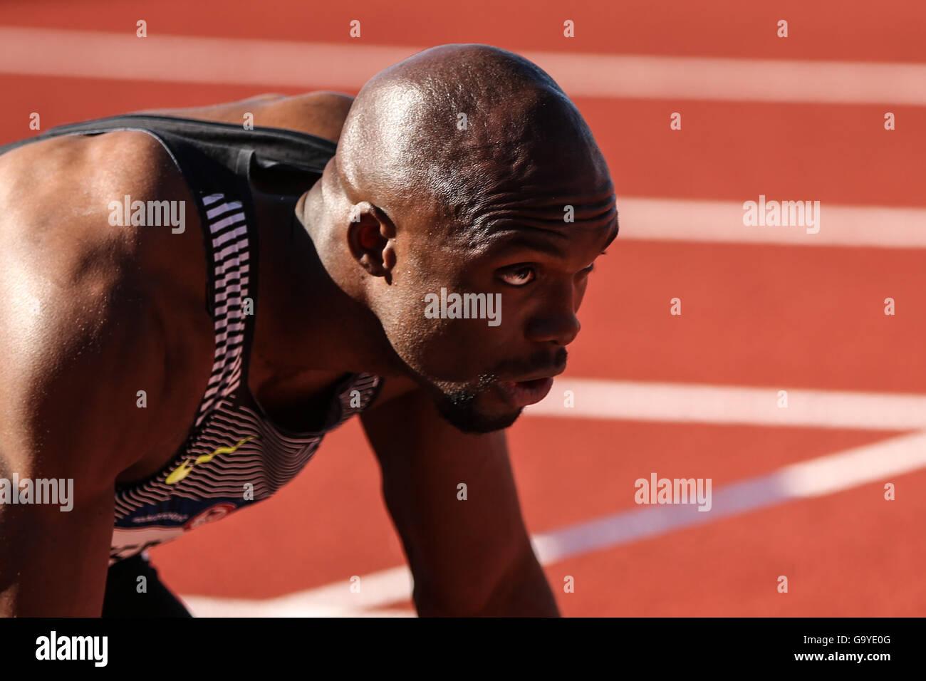 1 luglio 2016 - LASHAWN MERRITT siede in blocchi di partenza durante la 400m prelims in USA Track & Field prove Immagini Stock