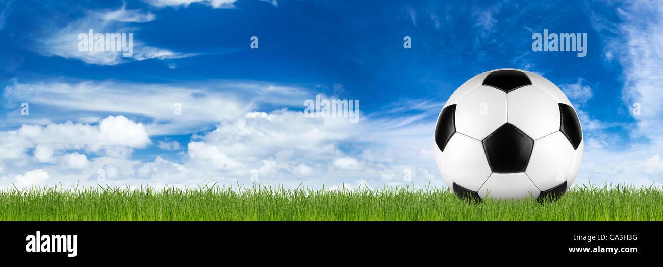 Retro nero bianco pelle pallone da calcio in erba di fronte blu cielo Immagini Stock