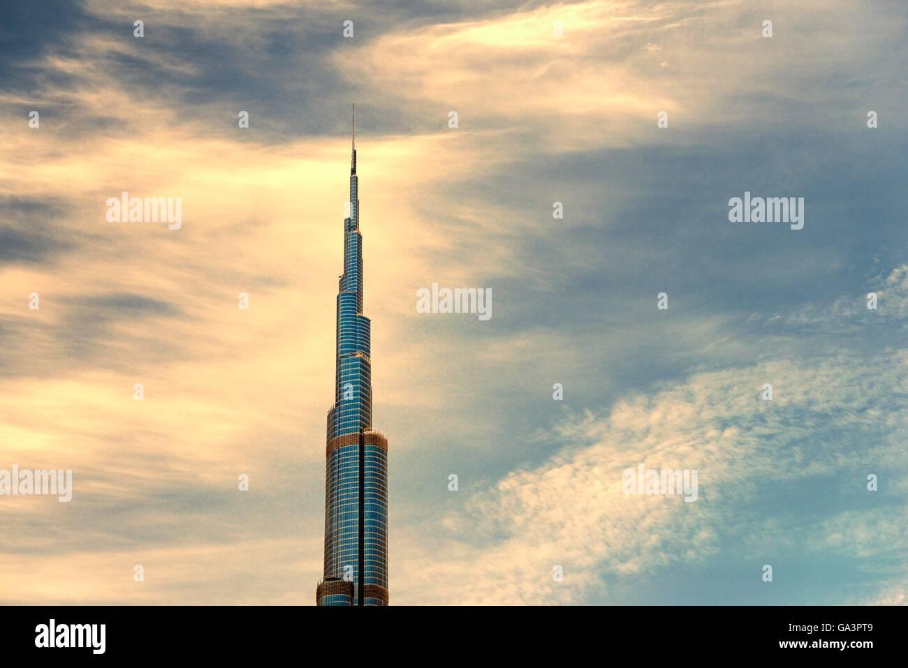 Il Burj Khalifa aka Khalifa Tower, Burj Dubai. città di Dubai, Emirati arabi uniti. mondiali di edificio più alto Foto Stock