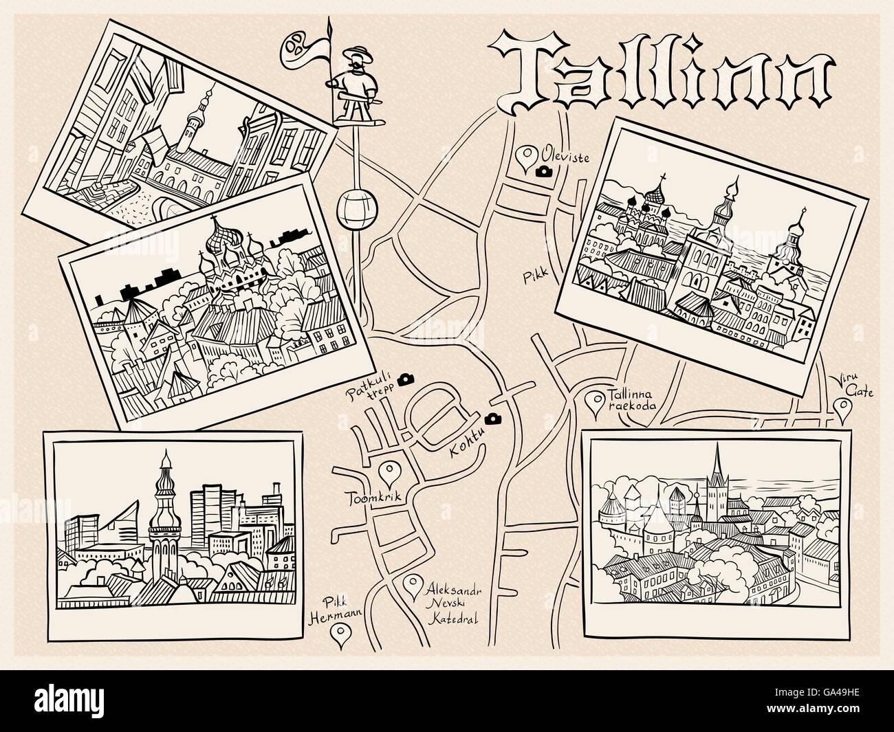 Vettore Città Vecchia medievale, Tallinn, Estonia Immagini Stock