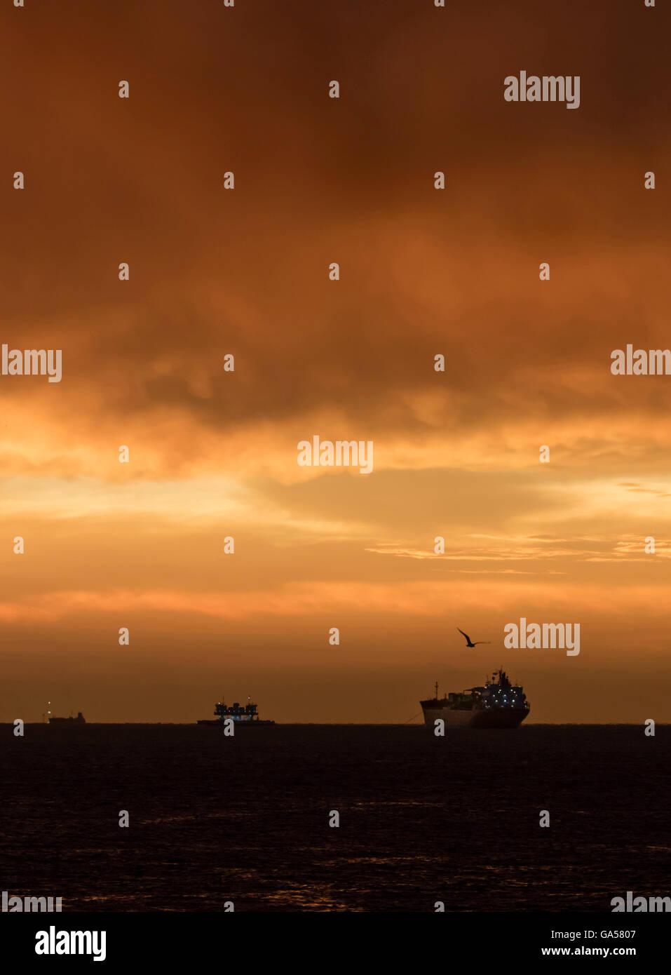 Approccio di una tempesta in Galveston Island, Texas, Stati Uniti d'America. Immagini Stock