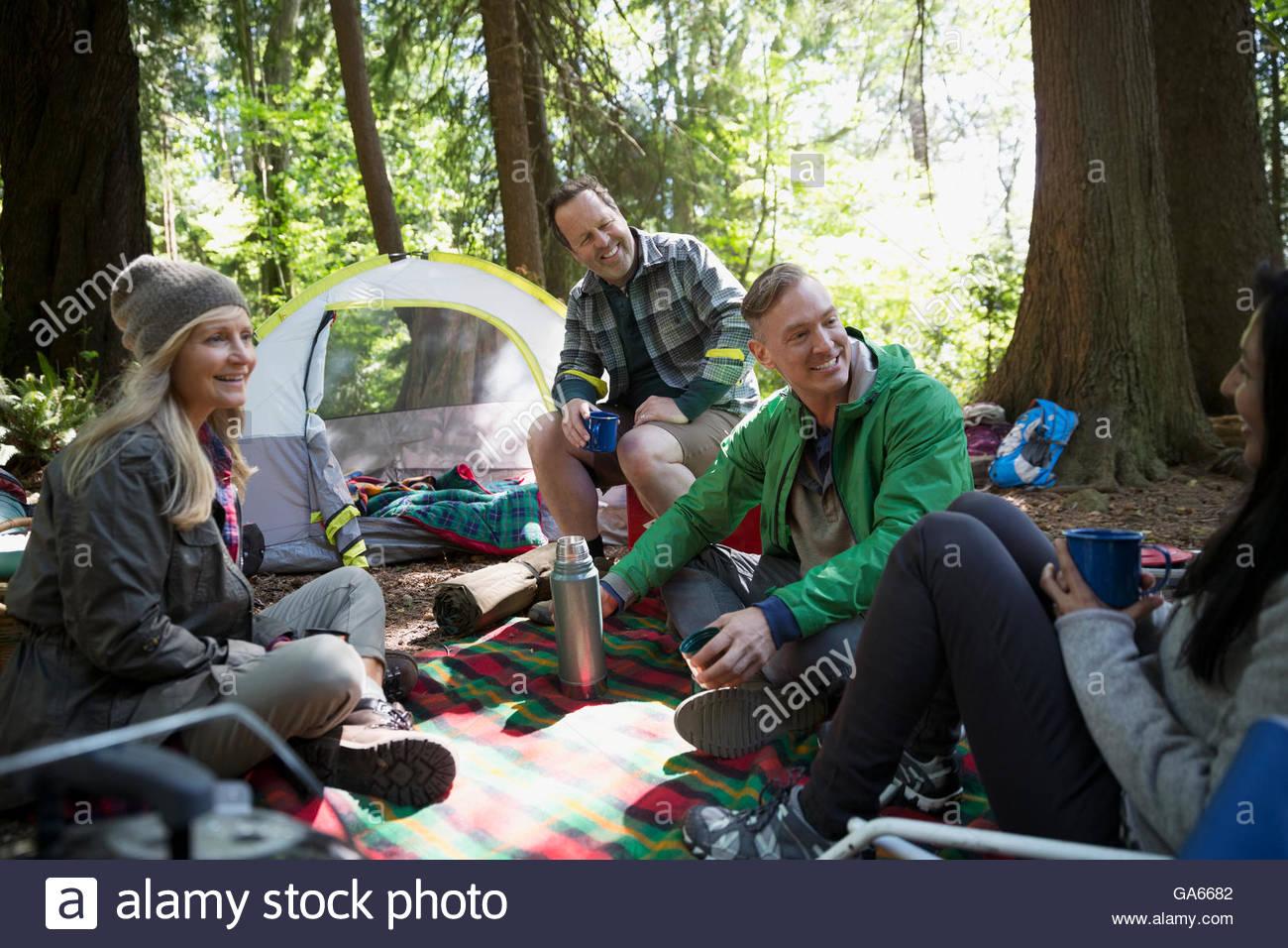 Gli amici di conversazione e di relax al campeggio Immagini Stock