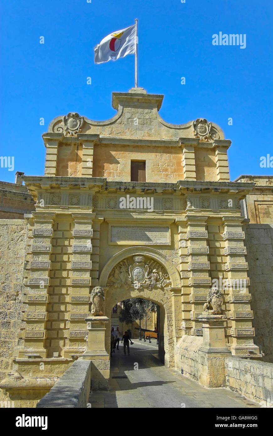 Malta, Mdina - cancello principale Immagini Stock