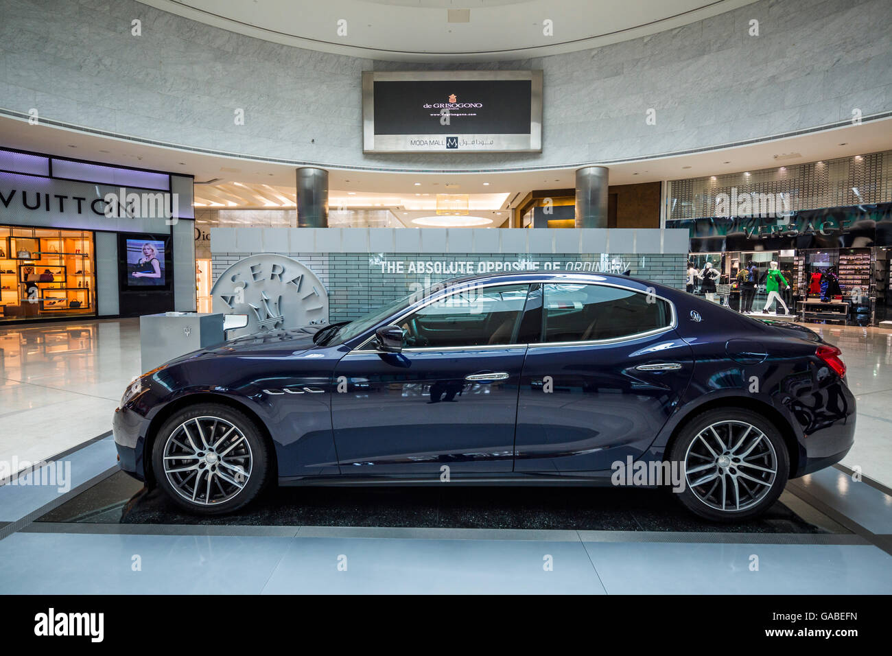 Maserati Ghibli, MODA Mall, Bahrain World Trade Center, Manama, Bahrain. Immagini Stock