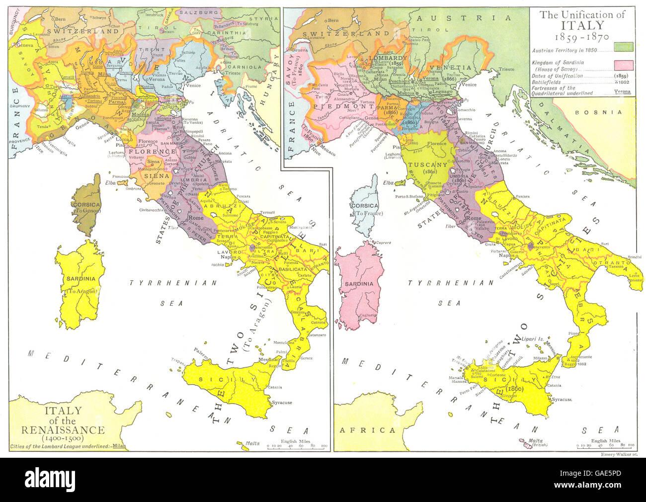 Cartina Italia Nel 400.Italia Del Rinascimento 1400 1500 Unificazione 1859 1870 1910 Mappa Antichi Foto Stock Alamy