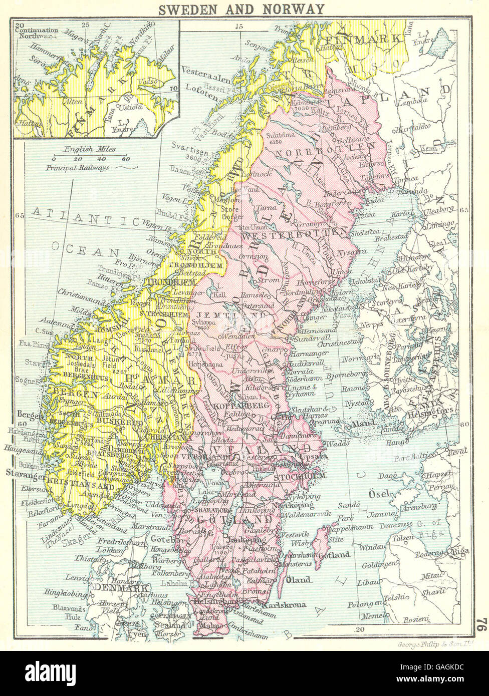 Norvegia Cartina Geografica Fisica