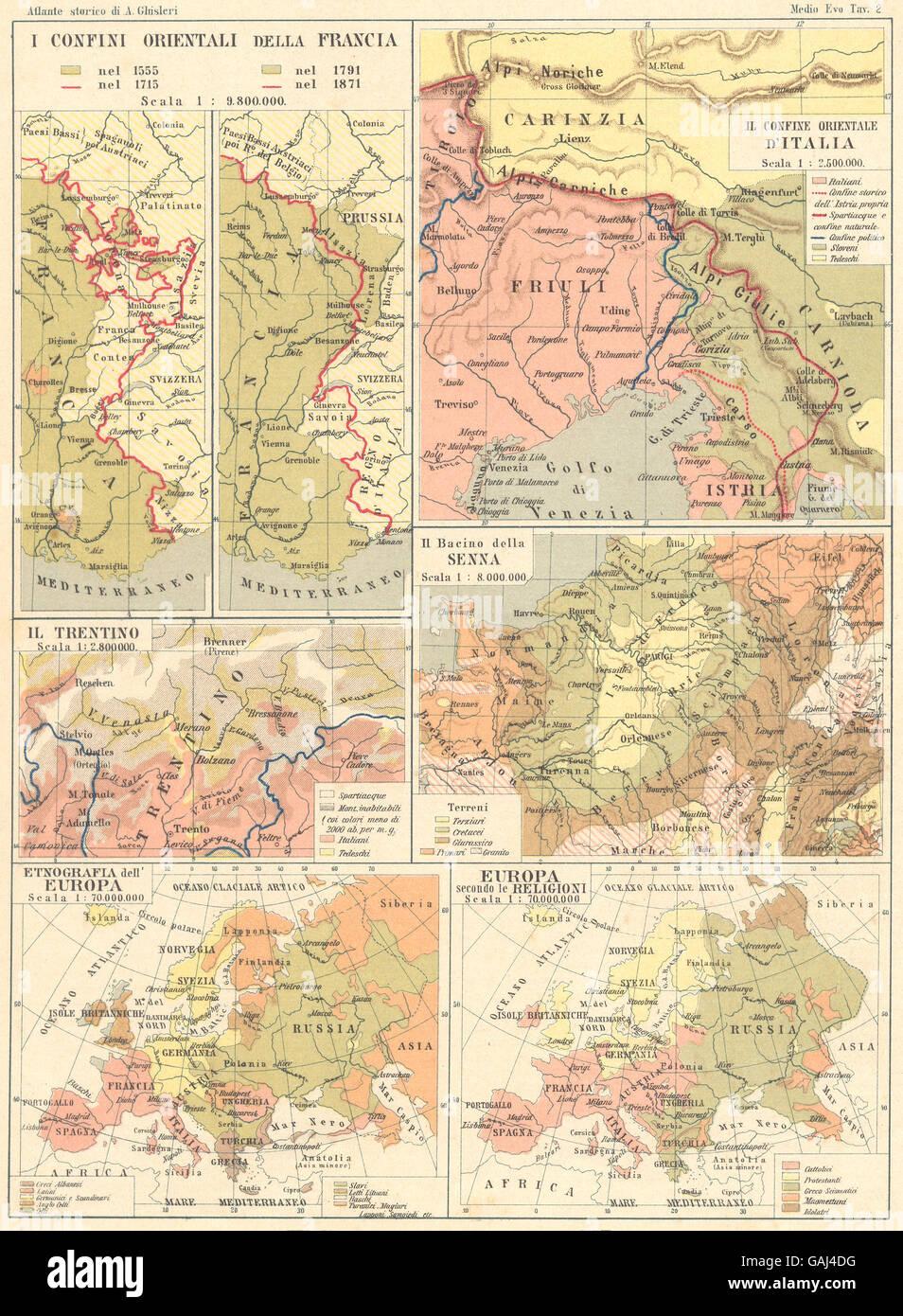 FRANCIA: Italia; Trentino; Senna; Etnografia Europa; Religioni, 1889 mappa vecchia Immagini Stock