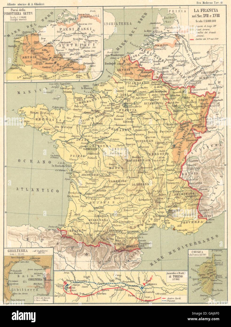 FRANCIA 17-18C: Frontiera sette; Gibilterra; Assedio Torino; Corsica, 1889 Mappa Immagini Stock