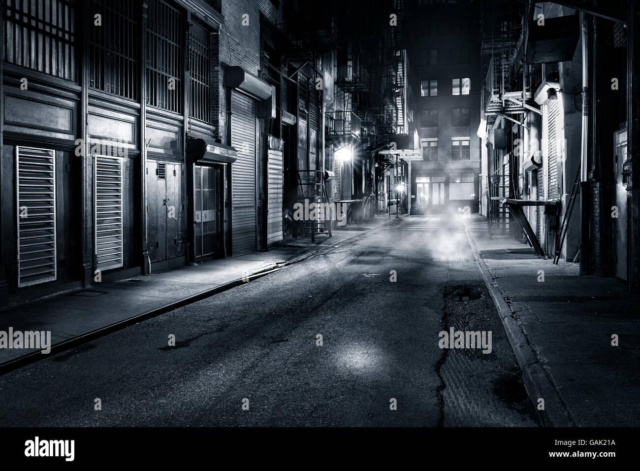 Moody visualizzazione monocromatica di Cortlandt Alley di notte, nella Chinatown di New York City Immagini Stock