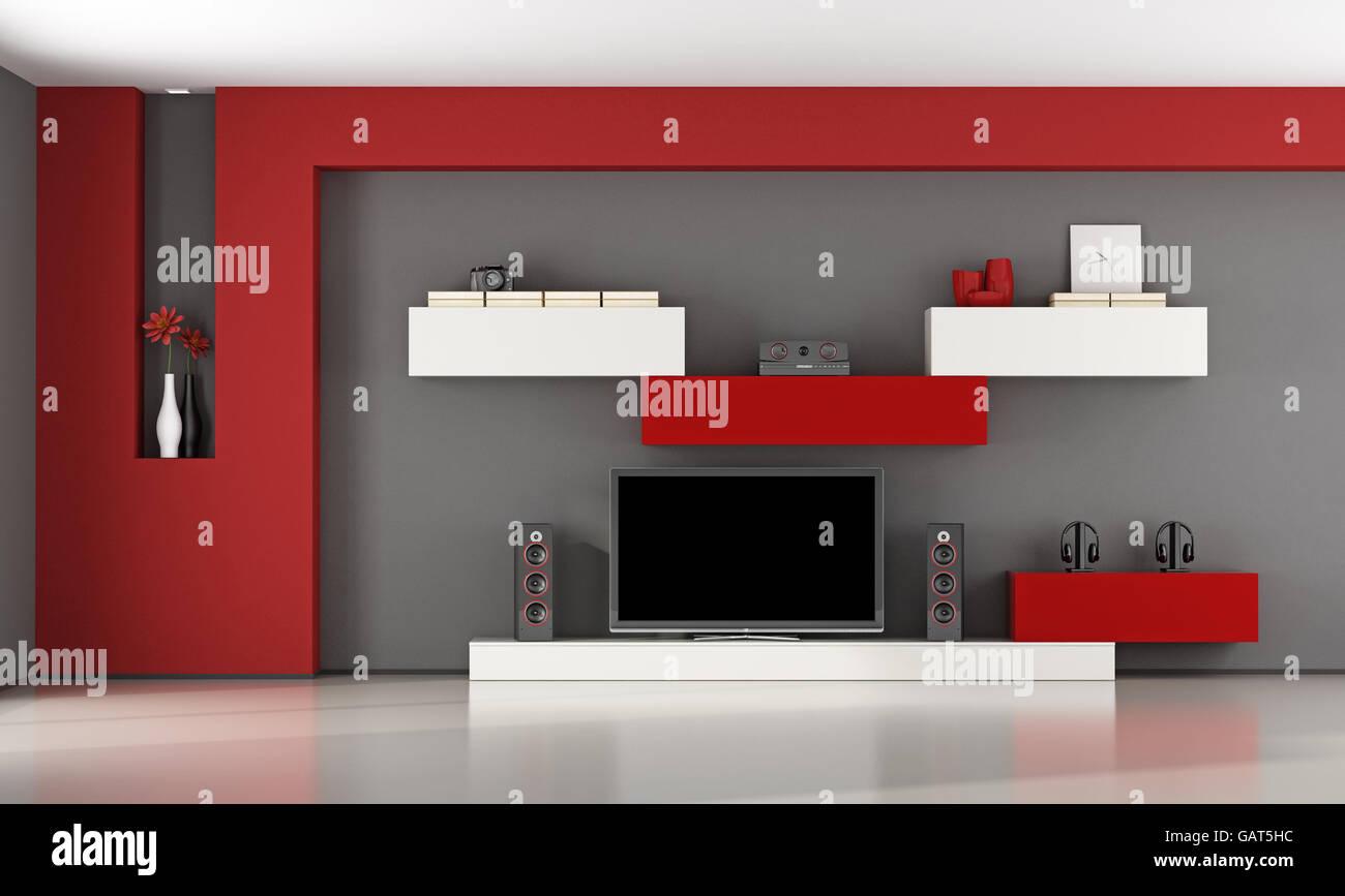 Rosso e grigio soggiorno con unità a muro e televisore - 3d ...