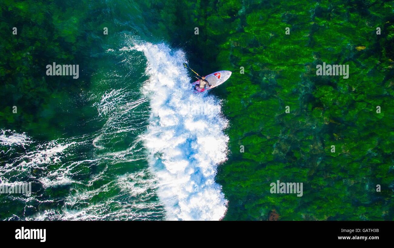 Vista aerea di un uomo surf su uno stand up paddleboard SUP alghe sopra rocce coperte a Sandon Point, Bulli, NSW, Immagini Stock