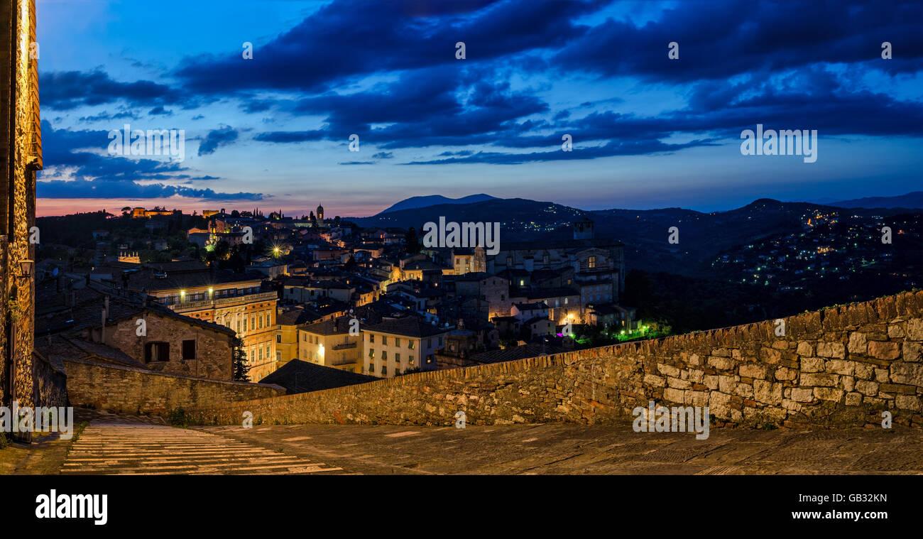 Perugia Umbria (Italia) vista da Porta Sole Immagini Stock